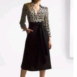 Diane von Furstenberg Brea dotted stone Wrap Dress size 12, silk & wool